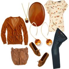 Mr. Rogers cardigan, cute print tee, blue jeans, mocs, and my vintage acorn and oak leaf ring.  Amber, butter yellow, and navy blue.