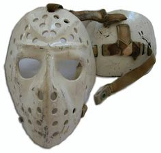 Roger Crozier - Buffalo - after adding skull protector to his mask - approx Hockey Goalie, Ice Hockey, Montreal Canadiens, Jason Voorhees Costume, Goalie Mask, Football Gear, Buffalo Sabres, Masked Man, Masks Art