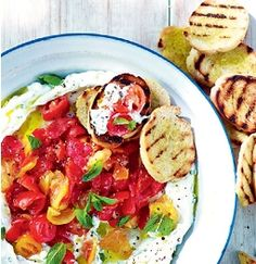 Ricotta dip with crushed tomatoes & bruschetta Good Food Aug 2013 Bbc Good Food Recipes, Cooking Recipes, Herb Recipes, Savoury Recipes, Ricotta Dip, Tomato Bruschetta, Bruschetta Recipe, Organic Recipes, Ethnic Recipes