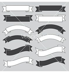 Old ribbon banner black and white eps10 vector 1219023 - by kanate on VectorStock®