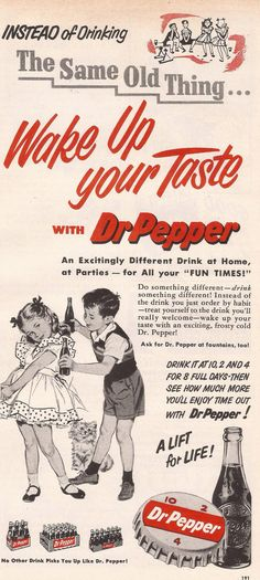 Dr. Pepper ad from Woman's Day, November 1953