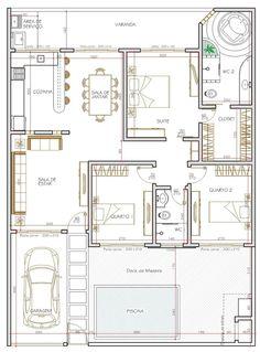 Plantas de casas modernas com 3 quartos grátis | Digno.net