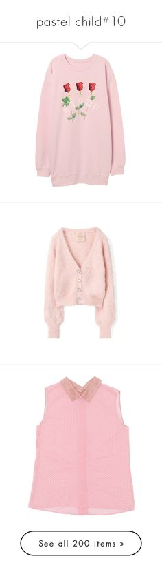 """""""pastel child#10"""" by xiuchen-was-taken ❤ liked on Polyvore featuring outerwear, jackets, tops, pink, shirts, pink top, logo polo shirts, polo sport shirts, slimming shirts and sports shirts"""