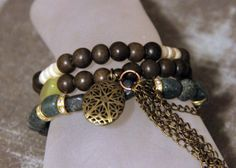 3-piece Stacker Diffuser Locket Bracelet Set made with Green and Brown Semi-Precious Stones, Wood, Bone, Brass and Gold Elements