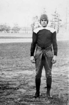 A Notre Dame football player in an 1880s uniform in College football. These college athletes had much different uniforms than today.