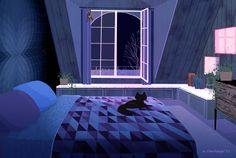 anime backgrounds scenery sleepy thorhauge kitty episode