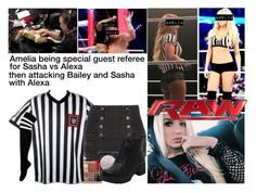"""Amelia Being Special Guest Referee On Raw"" by stonecoldamelia ❤ liked on Polyvore featuring Stila, WWE, Pierre Balmain and By Charlotte"