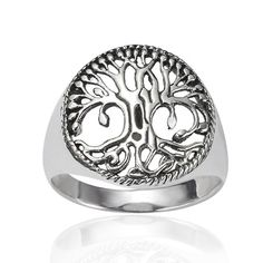 Amazon.com: Chuvora 925 Sterling Silver 17 mm Detailed Celtic Tree of Life Round Shape Band Ring - Nickel Free ( Available in Size 6,7,8,9 )...