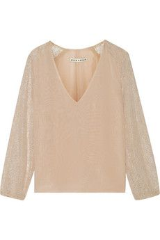 Alice   Olivia Resa lace-paneled silk-chiffon top | THE OUTNET purchased with 50% discount at TSUM discount . 11750 rubles