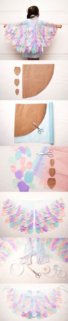 DIY Bird Costume | Clo by Clau! ~ How to make paper bird wings - Cómo hacer alas…