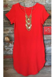 Round Neck Short Sleeve Red T Shirt on sale only US$19.96 now, buy cheap Round Neck Short Sleeve Red T Shirt at lulugal.com
