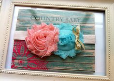 Peach Dots and Aqua Double Shabby Rose by CountryBabyHandmade
