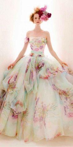 Wonderful 30 Pastel Wedding Dresses Design For Bride Looks More Pretty White Wedding Gowns, Wedding Dresses 2014, Colored Wedding Dresses, Floral Wedding, Dress Wedding, Tulle Wedding, Wedding Bride, Bridesmaid Dresses, Tiffany's Bridal