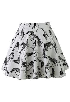 Faux Leather Animals Print Skirt - giraffes + zebras