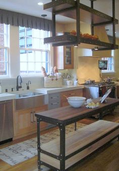 Rustic Kitchen Islands | loved the custom shelving above the island, the thick Caesarstone ...