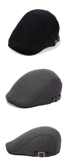 5bdd54ea9a0 Mens Winter Thicken Warm Woolen Beret Hat Adjustable Casual Solid Black  Grey Forward Hats is hot sale on Newchic.
