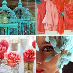 Teal and Salmon. These would be beautiful wedding colors.