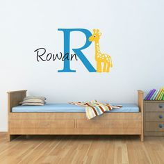Giraffe Wall Decal with Initial & Name  by StephenEdwardGraphic, $38.00