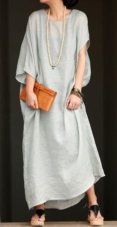 Aqua green linen dress Asymmetric sleeves by BonLife on Etsy