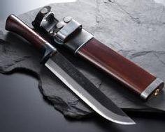 東周作狩猟用剣鉈青紙鋼黒打洋漆仕上7寸