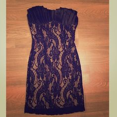 Lace & Satin Strapless Dress Beautiful & Classy, never worn, lace and satin strapless dress. I bought it for a wedding and never got to wear it. Dresses Strapless