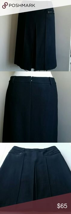 """Vintage Theory Wool Suede Trimmed Skirt 8 Excellent condition, cleaned, no moth holes. Waist 18"""", hem 24"""", front pleat. Offers welcome. Theory Skirts"""