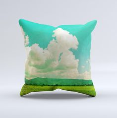 Green Vintage Field Scene ink-Fuzed Decorative Throw Pillow from DesignSkinz