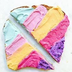 """She also styled """"unicorn toast"""" which is basically toast slathered with different naturally-colored cream cheeses. 