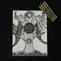 The Polarity Within 8 X 11 Pen art by Psychedelus on Etsy