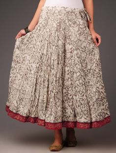 Ecru Camouflage Motifs with Rogan Border Panelled Cotton Skirt - by Jaypore