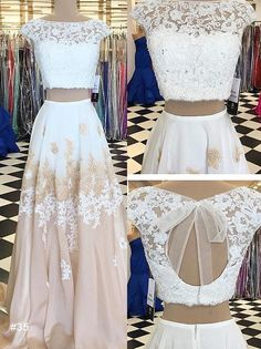 evening gown with sleeves elegant prom dresses champagne 2 pieces prom dresses, fancy cap sleeves evening gowns, vestidos Open Back Prom Dresses, Prom Dresses Two Piece, Evening Dresses With Sleeves, Two Piece Dress, Evening Gowns, Evening Party, Elegant Prom Dresses, Prom Dresses 2017, A Line Prom Dresses