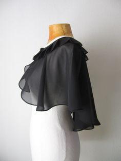 Black cape, Black bridal capelet , Bridal cape, Dress cover up, Black wedding cape, Dress cape, Wedding wrap, Shoulder wrap, Bridal bolero