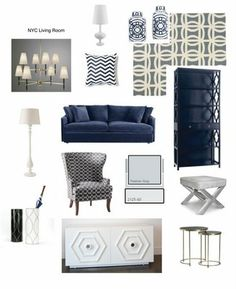 Above are my inspiration board for my latest E-Decorating client in New York. I decorated her living room with lots of blues (royal/light blue) and white. This room is also the TV room so I added lots of storage with the white cabinet and tall bookcases. This was such a great project to work on since she was so clear with her design style and taste.