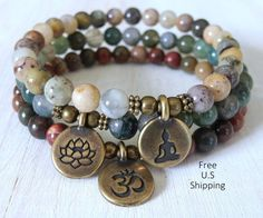 Yoga stack, Yoga bracelets, Moss agate, picasso Jasper,  bracelet set, Reiki Charged, stacking malas, yoga stack, stacking