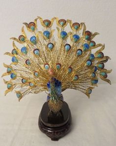 VTG CHINESE EXPORT Gold Gilt CLOISONNE  ENAMEL Fan Tail PEACOCK Figurine Stand