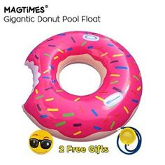 Magtimes Gigantic Donut Float Pool Floats For Adult Giant Pool Float Swim Ring Summer Water Toy (Strawberry Frosted with Sprinkles) Float Pool, Preschool Kids Games, Giant Pool Floats, Swimming Pool Games, Giant Donut, Pool Floats For Adults, Inflatable Float, Strawberry Frosting, Pool Toys