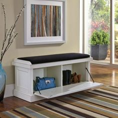 Wood-Storage-Bench-White-Distressed-Upholstered-Entry-Chest-Seat-Shoe-Organizer