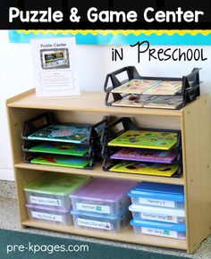 How to set up and organize a puzzle center in your preschool, pre-k, or kindergarten classroom. Puzzle center organization and storage tips for teachers. Preschool Set Up, Preschool Classroom Setup, Preschool Rooms, Preschool Centers, New Classroom, Classroom Organization, Classroom Management, Preschool Room Layout, Puzzle Organization