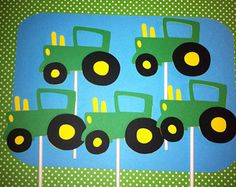 Set of 24 Tractor Cupcake Toppers, Farm Theme Party Decorations, John Deere Inspired Birthday, Barnyard Birthday, Tractor Baby Shower,