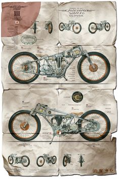 Chicara Nagata Motorcycle Posters. Terrific graphic design from one of the most underrated custom motorcycle builders of today.