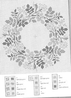 Gallery.ru / Фото #32 - Веночки от Герды Бенгтссон - Mosca Cross Stitch Boarders, Fall Cross Stitch, Cross Stitch Flowers, Cross Stitch Embroidery, Cross Stitch Patterns, Cross Stitch Collection, Christmas Cross, Needlework, Palestine