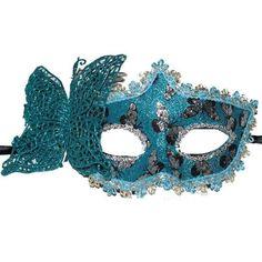 Mavi Renk İşlemeli Kelebek Balo Maskesi