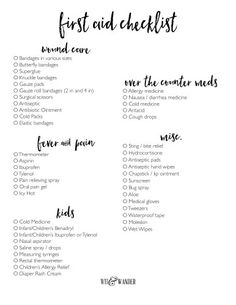 Free Printable First Aid Kit Checklist First Aid Checklist for Home and Kids First Aid Kit Checklist, Diy First Aid Kit, First Aid Tips, Camping First Aid Kit, Emergency First Aid, Emergency Preparation, Camping Checklist, Babysitter Checklist, Basic First Aid Kit
