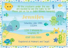 Under The Sea Baby Shower Invitation Printable Sea Themed Baby Shower Invitation Template.