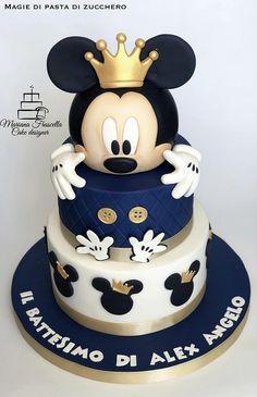 Baby Mickey Mouse Cake, Mickey Birthday Cakes, Boys 1st Birthday Cake, Mickey 1st Birthdays, Mickey Mouse Party Decorations, Mickey Mouse Parties, Bolo Mickey, Mickey Y Minnie, Pastel Mickey