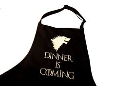 Embroiderd Kitchen apron Game of thrones inspired, house of stark, dinner is coming, wolves, winter is coming, gift for him, giftidea #christmasgift #christmasgiftideas #christmasgiftsformom #christmasgiftsfordad #christmasgiftsforbff #christmasdeals #giftideas #birthday #giftsforhim #giftsforher #ad #gameofthrones #GOT #jonsnow #lannister #stark #apron #kissthecook #personalize