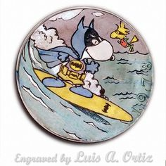 Surf's Up Bat Snoopy Ike Hobo Nickel Colored & Engraved by Luis A Ortiz Hobo Nickel, Surfs Up, Peanuts, Hand Carved, Snoopy, Carving, Ebay, Color, Things To Sell