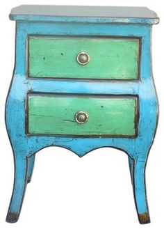 Blue and Green Lacquer Nightstand - contemporary - Nightstands And Bedside Tables - Golden Lotus Antiques
