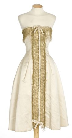 Designer - Manuel Pertegaz  Barcelona  Spain  Silk satin evening dress w/ gold yarn passementerie