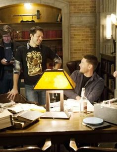 [close-up] Director Misha Collins with Jensen Ackles on the set of Supernatural